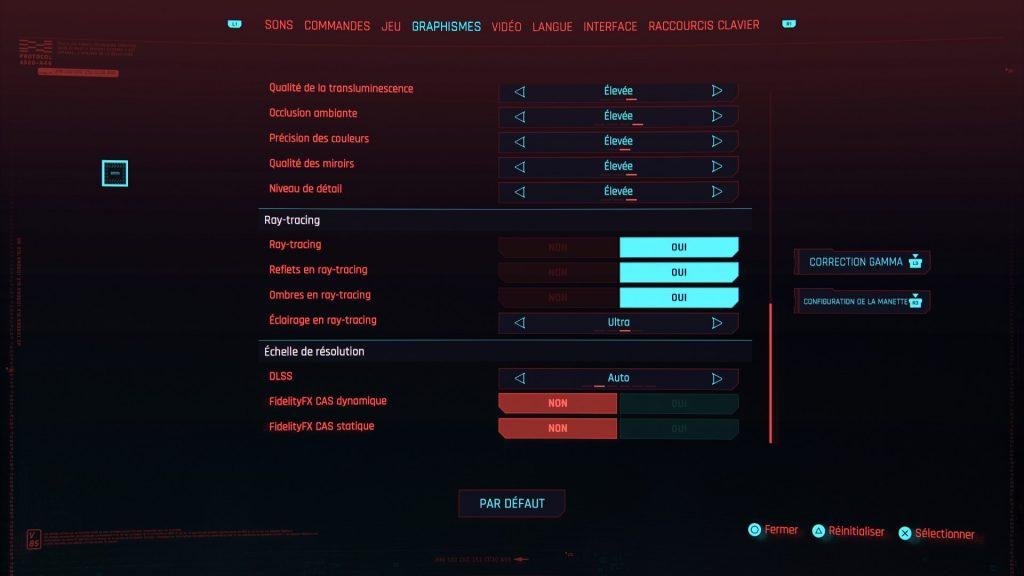 Réglages sur Cyberpunk 2077